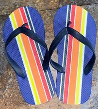NEW Children's Place Boy's Beach Flip Flops Sandals Blue Rainbow Youth 3-4 Large