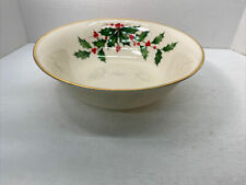 """Lenox Holly & Berries Round Vegetable Bowl 9 1/2""""X  3"""" Tall Bowl 2"""