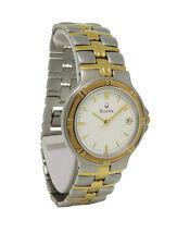Bulova 98B52 Men's Round White Analog Date Gold Tone Stainless Steel Watch