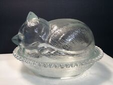 Vintage Large Clear Glass Cat Kitten on The Nest Candy Trinket Dish Figurine