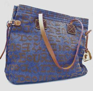 Dooney & Bourke Blue Denim Embossed Medium Size Handbag