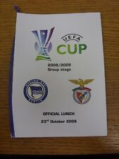23/10/2008 Hertha Berlin v Benfica [UEFA Cup] - Official Lunch Menu From Game. F