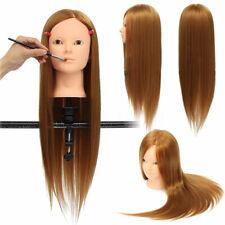 24'' Human Hair Hairdressing Training Head Makeup Practice Mannequin Salon Clamp