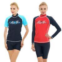 Women Rash Vest Top Ladies Swim Shirt Long Short Sleeve Surf Wear Guard Swimsuit