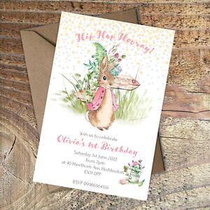 BIRTHDAY INVITATIONS First Birthday, Peter Rabbit, Pink Personalised PK 10