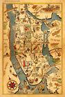 1939+Pictorial+Map+of+New+York+City+Historic+11x16+Wall+Art+Print+Decor+Artwork