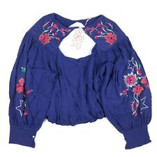 Free People Floral Embroidered Top Blouse Cutout Cotton Linen Knit Size M - NWT