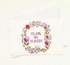 5 Thank You Teacher Floral Greeting Cards for Appreciation Cute Thanks TEACHER29