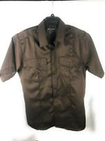511 Tactical Series Mens Size Large Brown Short Sleeve Button Up Shirt A3