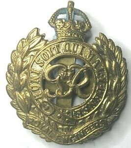 WW2 Royal Engineers Cap Badge Gilt finish Verdigris To Crown 47 x 41 mm