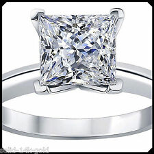 Lisa 0.50CT PRINCESS Diamond VVS1 D Solid 14K White GOLD Engagement Wedding Ring
