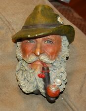 Man With Pipe Bossons Hand Painted Chalk Ware Head 1972