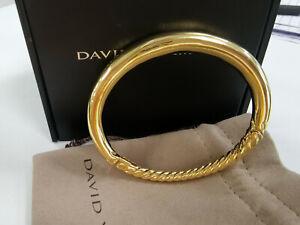 9.5mm David Yurman 18K Gold Pure Form Smooth Hinge clasp Bracelet New