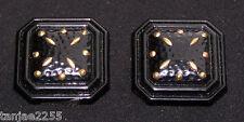 80erJahre Ohrringe Clips Vintage Schwarz/Gold  Modeschmuck (282)