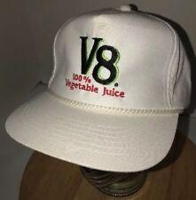 Vintage V8 100% VEGETABLE JUICE 80s White Hat Cap Snapback YOUNGAN Company Cord
