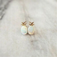 925 Silver Opal Ear Studs Pineapple Animal Earrings Ear Clips Women Gift Jewelry