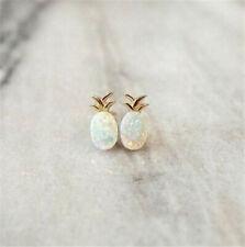 925 Silver Opal Ear Studs Pineapple Animal Earrings Ear Clips Women Gift Jewelry