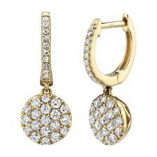 Diamond Circle Dangle Drop Earrings 14K Yellow Gold Round Pave Natural 0.50 TCW