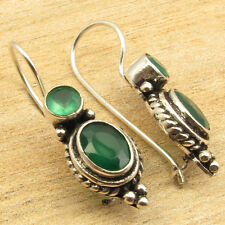 925 Silver Overlay Facetted GREEN ONYX 2 Gemstone ARTISAN Earrings 1.1""