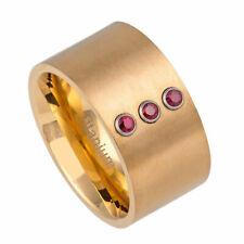 Men 12mm Titanium Band Matte Finish Pipe cut Yellow IP Ring 0.07ct Rubies
