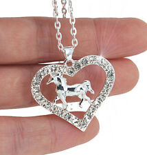 Horse & Western Jewellery Jewelry Ladies Sparkling Horse Heart Necklace Silver b