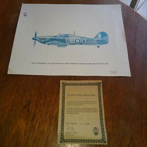 Limited Edition Print Of Douglas Bader Plane,signed By Him For 70th Birthday