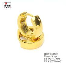 14k Gold Plated Stainless Steel Huggie Hoop Hinged Snap Mens Earrings SSHE 026 G