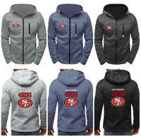 San Francisco 49ers Hoodie Hooded Sweatshirt Zipper Jacket Coat Tops Fans Gift