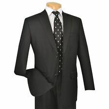 VINCI Men's Black 2 Button Classic Fit Business Suit w/ Pleated Pants NEW