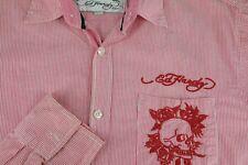 Ed Hardy Hombre Rojo y Blanco Rayas Costuras Calavera Camisa Informal S PEQUEÑA