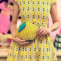 🌸 Kate Spade Picnic Perfect Lemon Crossbody Wicker & Leather Bag Yellow NEW