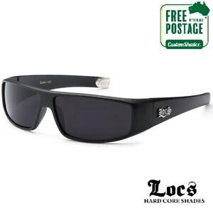 Locs Sunglasses - Men's - Matte Black Rectangular / Wrap Around Frame Free Post