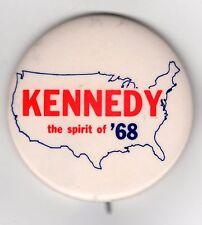RFK Bobby Kennedy Robert F. Kennedy THE SPIRIT Of '68 Map of USA Pin! 1968