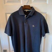 Mens BURBERRY Polo Shirt Top XL Navy Blue