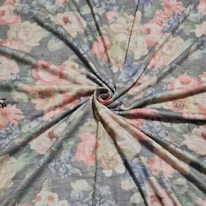 """Jersey Fabric Floral Rose Printed 2-Way Stretch 55"""" Wide Sold By The Metre"""