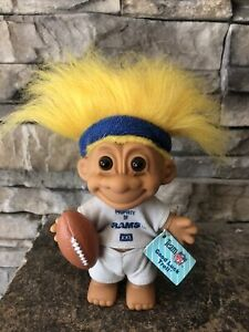 """Russ Troll Doll! 4 1/2"""" Yellow Hair Brown Eyes! NFL Licensed Product! Rams!"""