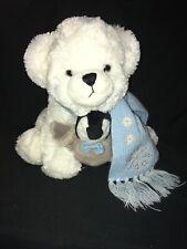 "Bearington White Toby & Tux Polar Bear Plush Holding Baby Penguin Blue Scarf 12"""
