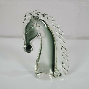 Stunningly Beautiful Murano Horse Head in Grey and Clear Crystal: Style of Nason