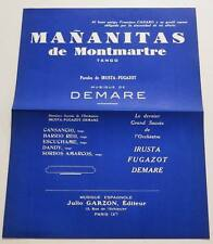 Partition sheet music IRUSTA FUGAZOT : Mananitas de Montmartre * 50's Accordéon