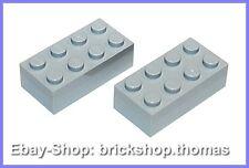 Lego 2 x Bausteine Steine grau 2x4 Basic Bricks Light Bluish Gray 3001 NEU / NEW