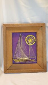 Vintage Nautical Sailboat & Sun String and Nail Art Picture Framed