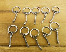 10-VINTAGE Chrome - Key Chain Keychain Ring Clasp Extension Connector 2 Pieces