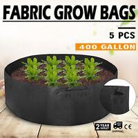 5Pcs 400 Gallon Fabric Grow Bags Black Planter Smart Plant Root Pots Container