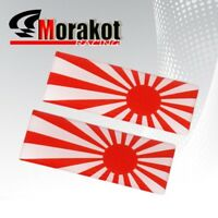 2x Japan Flag Toyota Honda Red White Sun Logo Decal Sticker Emblem Fender Bumper
