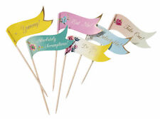 24 x Vintage Style Decorative Food Picks Flags buffet sandwich cupcake toppers