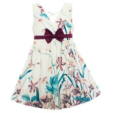 Girls Dress Purple Orchid Print Dresses Floral Bow Party Pageant Kids Clothing