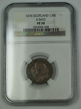 1676 Scotland 1/8 Dollar Silver Coin S-5622 Charles II NGC VF-30 AKR