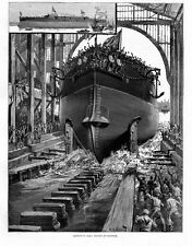 SHIP DOCKYARDS LAUNCH OF STEEL BATTLESHIP H.M.S. RODNEY AT CHATHAM WATERLINE