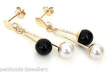 9ct Gold Pearl and Black Onyx Drop earrings Gift Boxed Made in UK