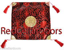 """New Beautiful Black Satin Brocade Cushion Covers 16 x 16"""" Tassels Red Emblem Z3P"""